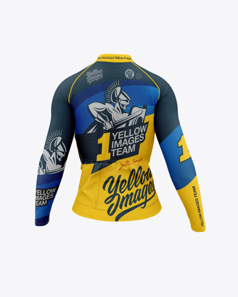 Download Women`s Cycling Jersey Back View PSD Mockup
