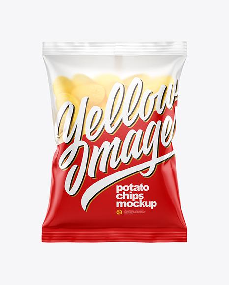 Download Matte Bag With Potato Chips PSD Mockup