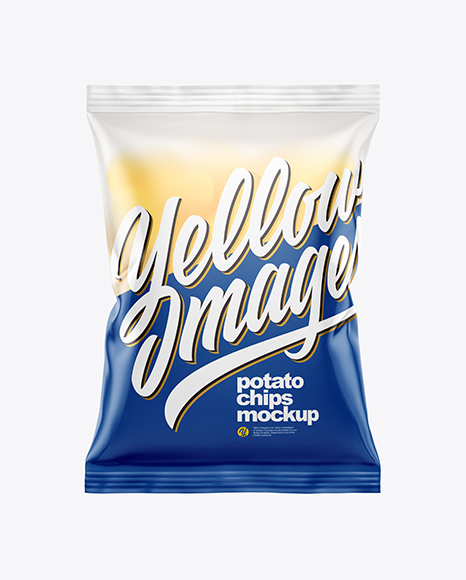 Download Frosted Bag With Potato Chips PSD Mockup