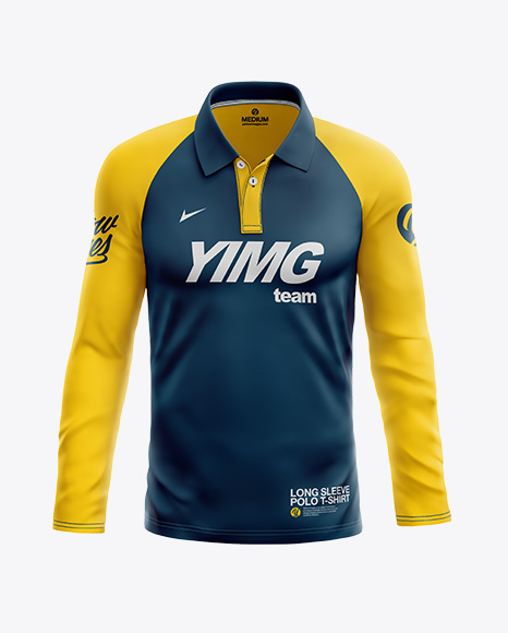 Men's Long Sleeve Polo T-Shirt - Front View