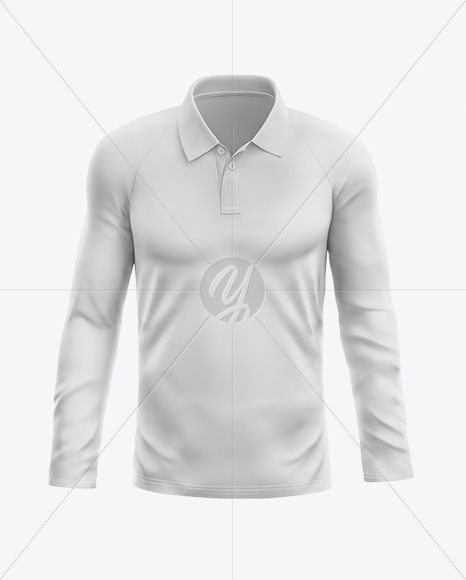 ceb3e1c48f3f0 Men's Long Sleeve Polo T-Shirt - Front View in Apparel Mockups on ...