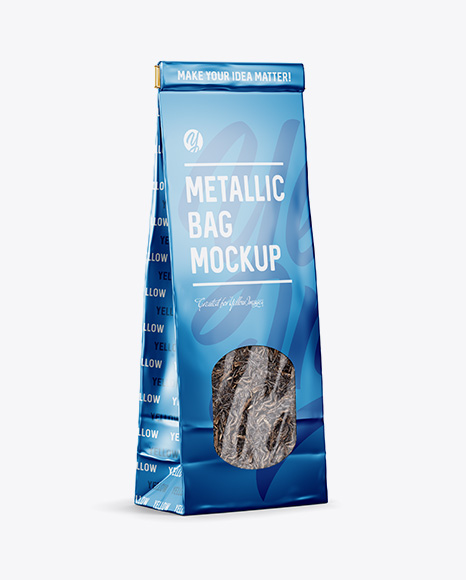 Download Matte Metallic Bag With Window Half Side View PSD Mockup