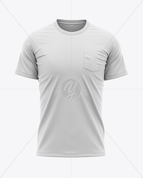 Download Men S Pocket T Shirt Front View In Apparel Mockups On Yellow Images Object Mockups PSD Mockup Templates