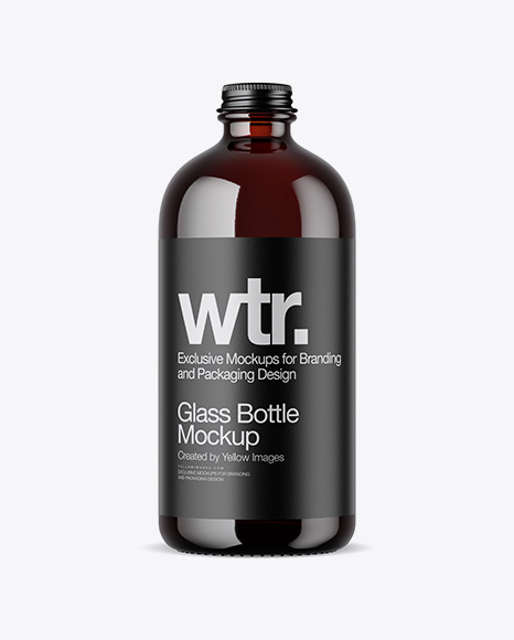 Download Dark Amber Bottle PSD Mockup