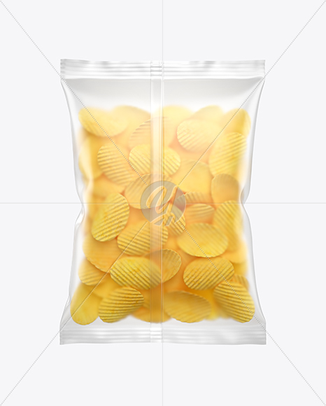 Matte Bag With Corrugated Potato Chips Mockup