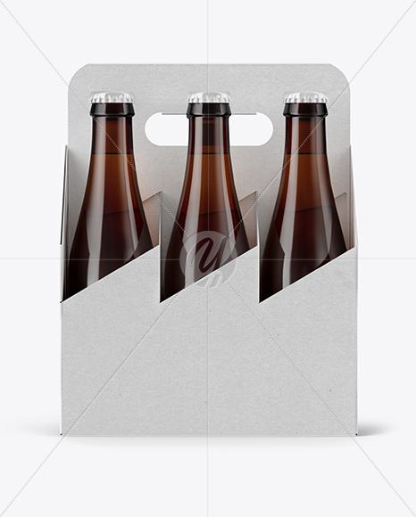 Kraft 6 Pack Beer Bottle Mockup