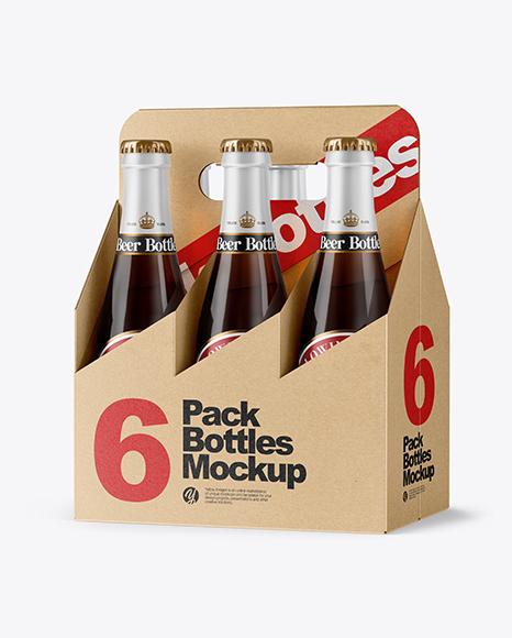 Download Kraft 6 Pack Beer Bottle PSD Mockup