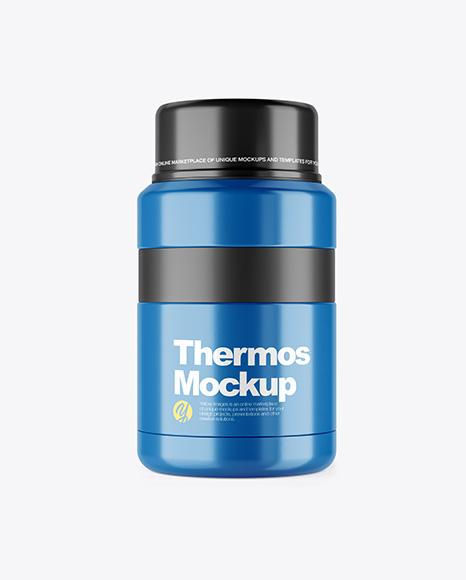 Glossy Thermos Mockup