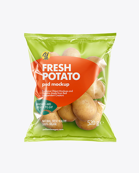 Plastic Bag With Potatoes Mockup