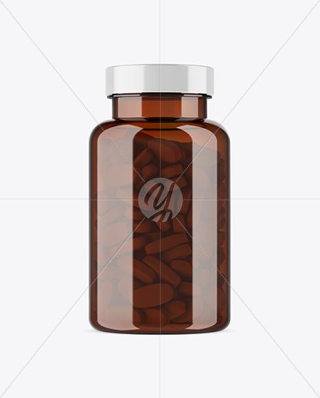 Amber Plastic Pill Bottle Mockup