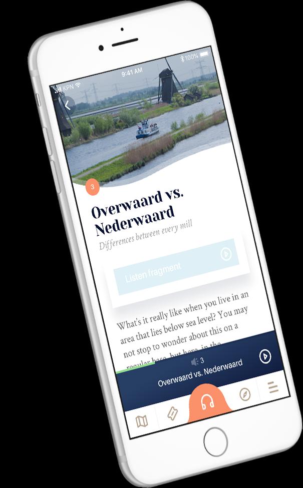 Beluister audiotours in de Kinderdijk App.