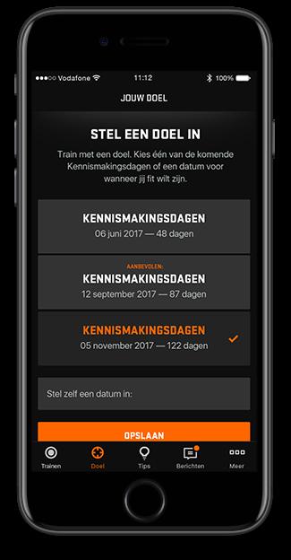Screenshot van doelen kiezen