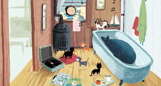 De Kleine Walvis app - Kattengejank spel