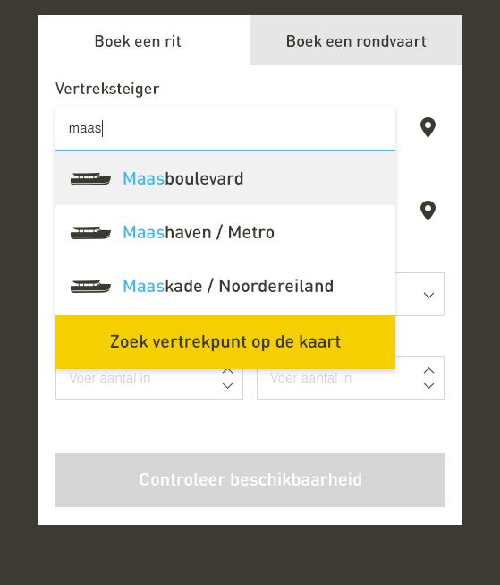 Halte selecteren in het online reserveren van Watertaxi Rotterdam.