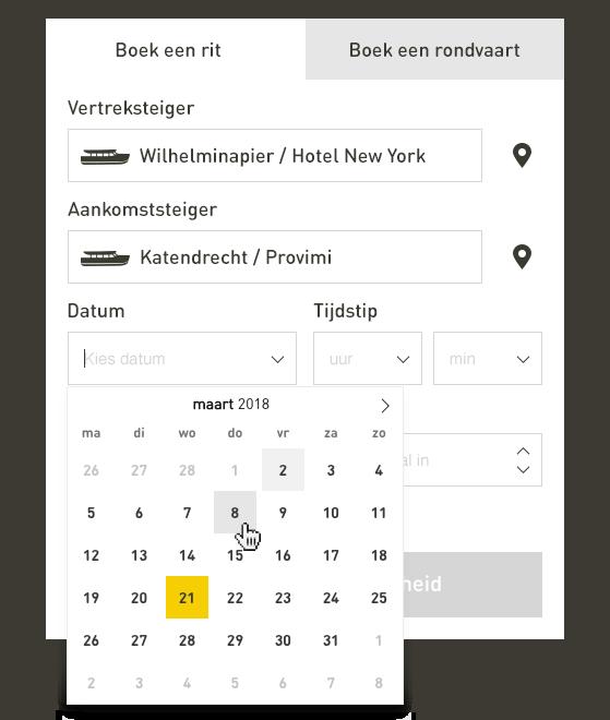 Datum kiezen in het online reserveren van Watertaxi Rotterdam.