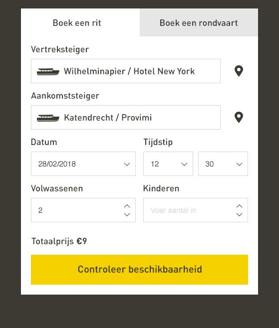 Controleer beschikbaarheid in het online reserveren van Watertaxi Rotterdam.