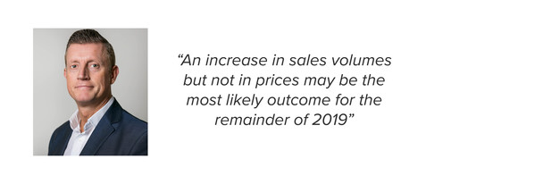 An increase in sales volumes but not in prices may be the most likely outcome for the remainder of 2019