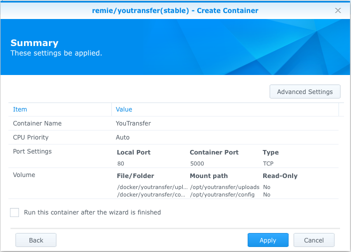 Final summary screen for YouTransfer Docker container