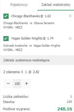 Hokejowy kupon na NHL