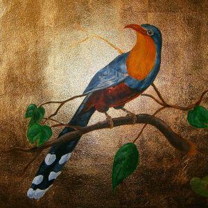 Oiseau peint sur panneau doré à la feuille Eddy