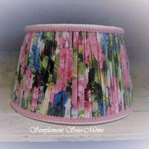 Abat-jour tambour plissé couture doublé coton rose Laurence