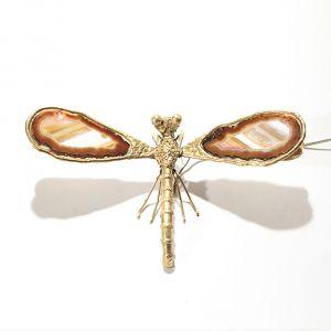 Restauration d'une lampe libellule bronze doré et agate Alice