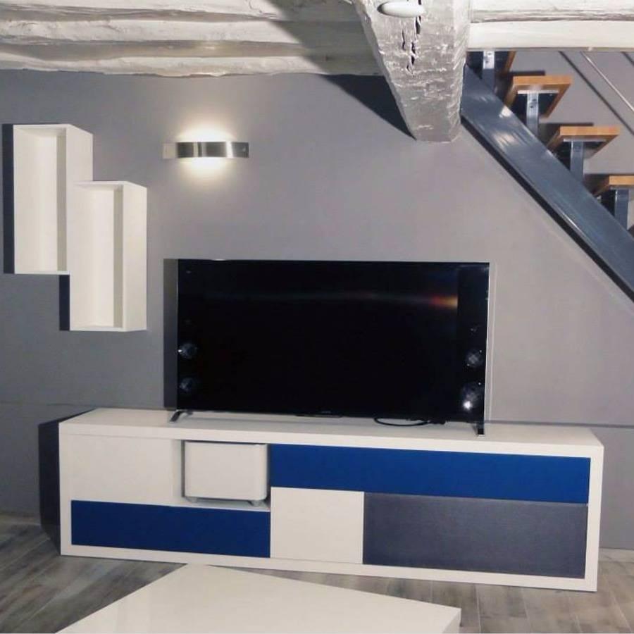 Meuble Tv Bleu Et Blanc Par Christophe S # Meuble Tv Bleu