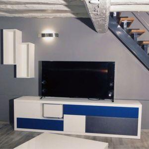 Meuble TV Bleu et blanc Christophe