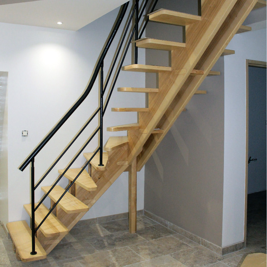 Escalier double limon central par jean fran ois b for Escalier bois double quart tournant