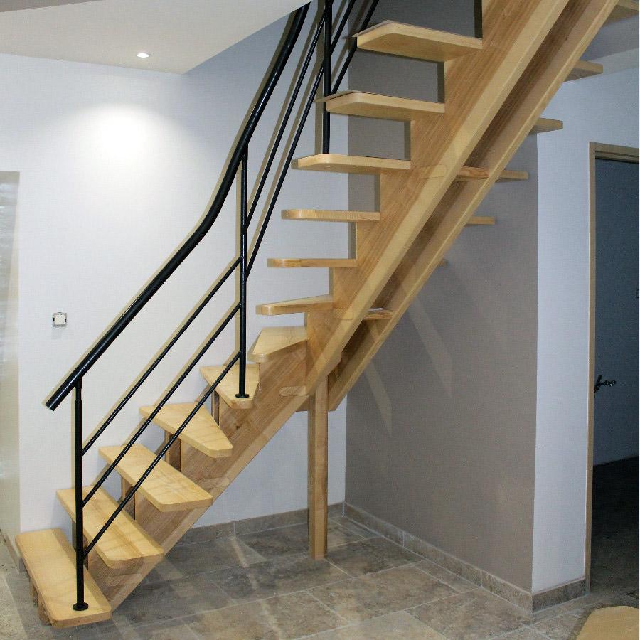 Escalier double limon central par jean fran ois b - Escalier double quart tournant ...
