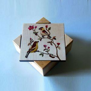 Boîte à musique, marqueterie « oiseaux » P10 Etienne