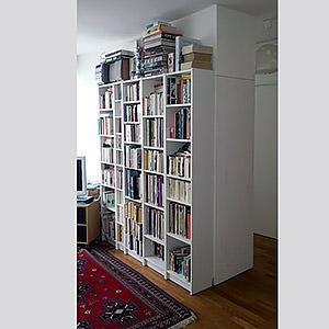 Double cloison de séparation avec colonne de rangement intégrée et bibliothèque Matthieu