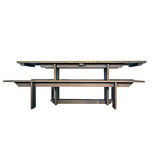 Table et bancs en chêne massif Solveig