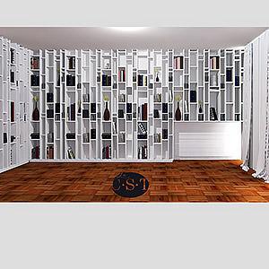 Bibliothèque toute hauteur avec tablettes à hauteur variables Christophe