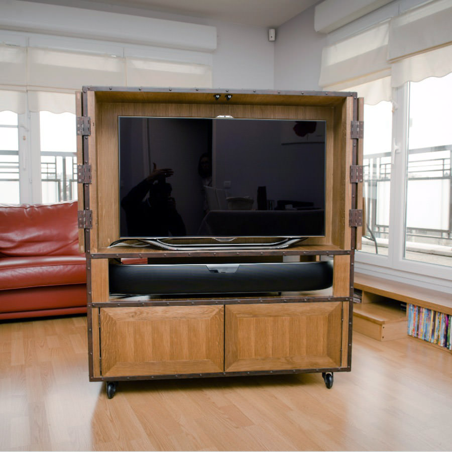 meuble tv biblioth que double face style industriel par. Black Bedroom Furniture Sets. Home Design Ideas