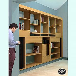 Bibliothèque en Latté plaqué Chêne. Christophe