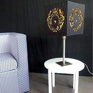 Cage de Lumière - Finition Moire Noire motif Arabesque Mariane