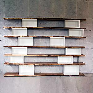 Bibliothèque chêne brut et caissons blancs Antoine