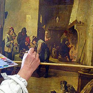 Restauration d'un tableau de Rosa di Napoli Amélie