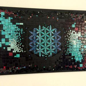 """Tableau mosaïque  """"FLEUR DE VIE"""" (50 cm x 80 cm) Aurélie"""