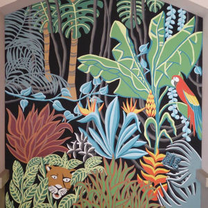 Fresque murale de 7 m2 en extérieur d'inspiration jungle Meryam