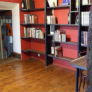 bibliothèque acier et vieux chêne Frédéric