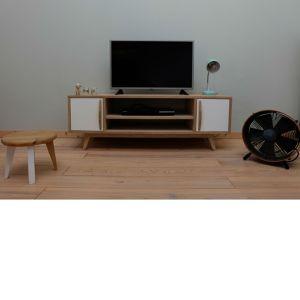 Meuble tv style scandinave année 50 en chêne et blanc Eric