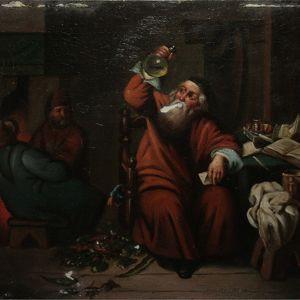 """Restauration d'une oeuvre intitulée """"L'Alchimiste"""" (hyp. XVIIe-XVIIIe siècle) - peinture à l'huile sur plaque de cuivre Julie"""
