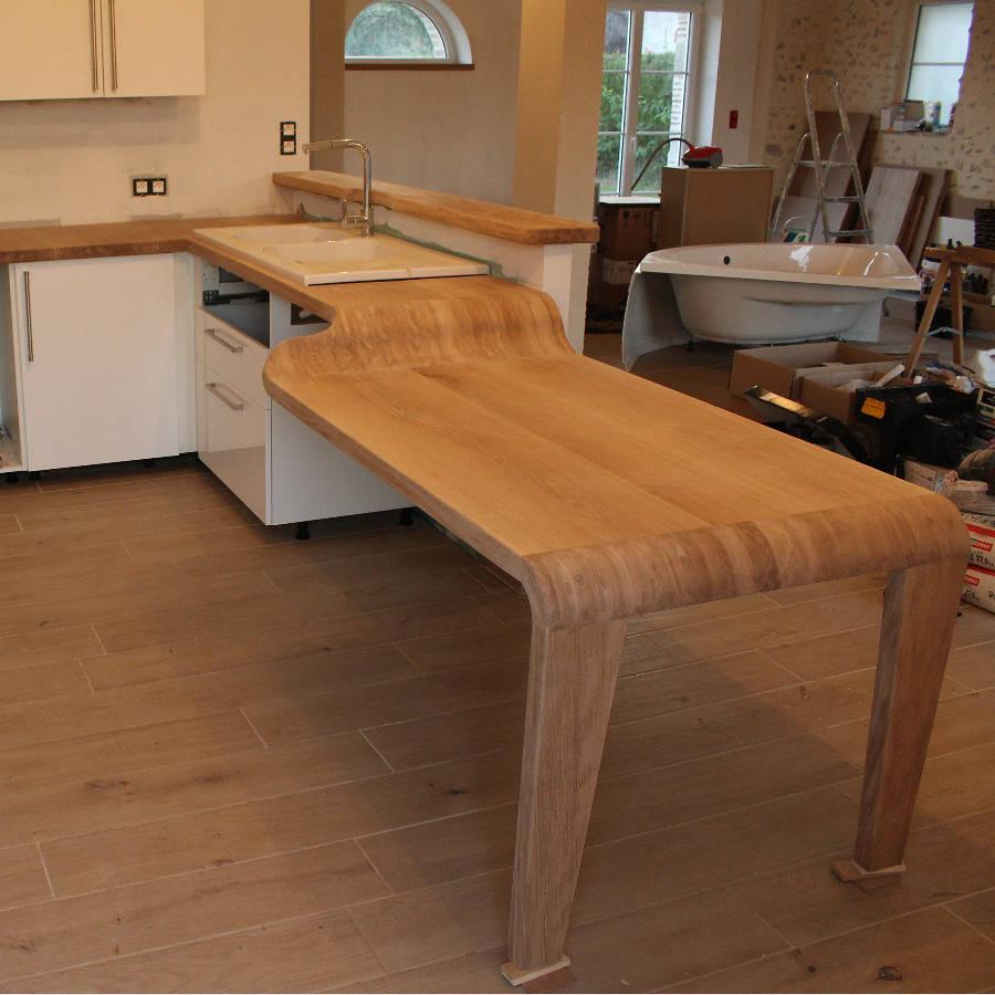 Plan De Travail Bar Arrondi plan de travail/table et bar en chêne, un projet de jean