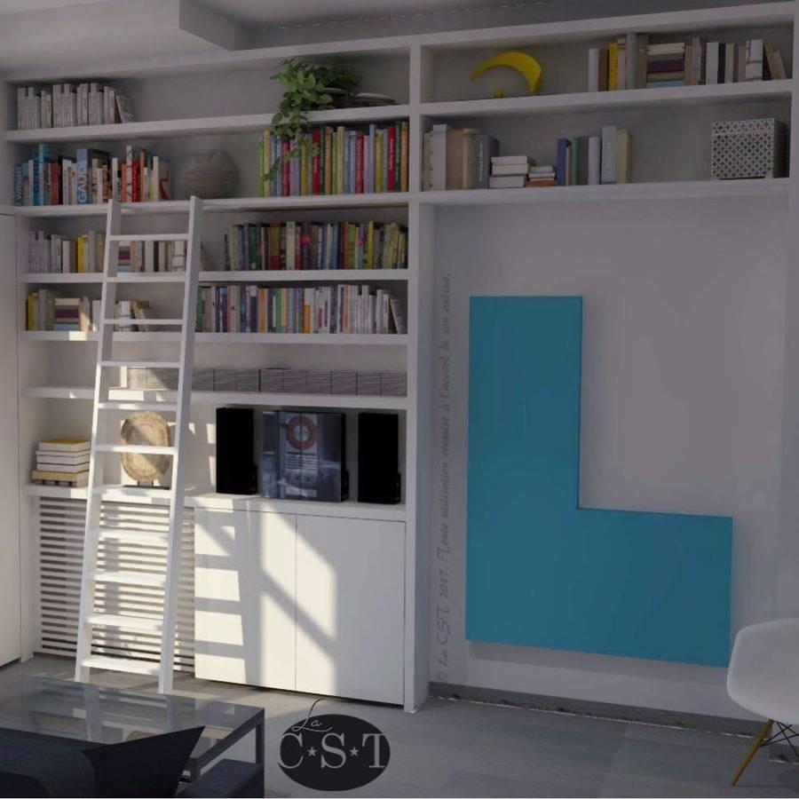 bibliothèque intégrée avec échelle., un projet de christ