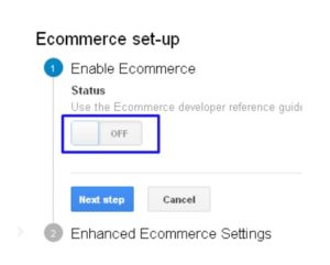 خيار التجارة الإلكترونية في تحليلات قوقل