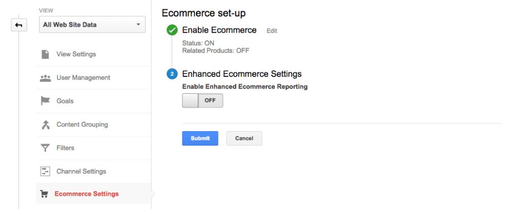 تفعيل التجارة الإلكترونية عبر تحليلات قوقل Google Analytics