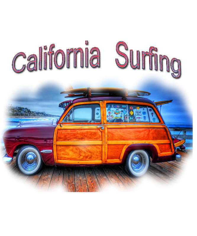 Vintage Surfing Woody Art