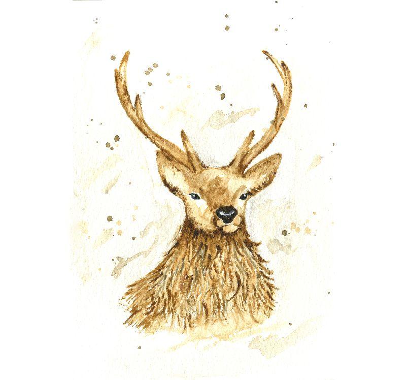 Watercolour Stag Reindeer